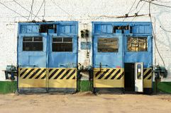 Painted gates in trolleybus depot Royalty Free Stock Image