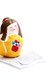 Painted Geisha Statuette. With notes in Japanese Royalty Free Stock Photo