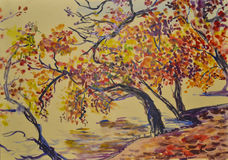 Painted gentle beautiful scenic autumn landscape with watercolor. Painted watercolor autumn landscape in dotted style on paper royalty free stock images