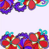 Painted geometric border of abstract flowers on a white background Stock Photography