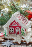 Painted gingerbread house. Royalty Free Stock Images