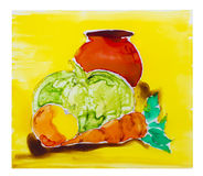 Painted on glass abstract vegetables Stock Image