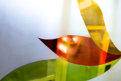 Painted glass. Handmade work ideal for abstract backgrounds. Stock Photography