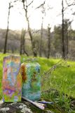 The Feminine Art Project. 2 Painted glass jars sitting on a mossy rock with 3 small paint brushes Royalty Free Stock Photos