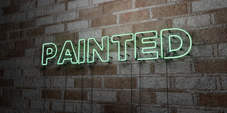 PAINTED - Glowing Neon Sign on stonework wall - 3D rendered royalty free stock illustration Stock Photos