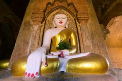 Painted and golden Buddha in Myanmar Royalty Free Stock Image