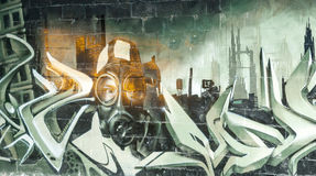 painted graffiti in an abandoned factory building. Stock Photo