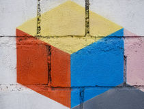 Painted  graffiti on grunge wall. Colourful square painted  graffiti on grunge wall Royalty Free Stock Images