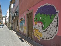 Painted graffiti. Lisbon, Portugal Royalty Free Stock Photo
