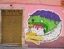 Painted graffiti. Lisbon, Portugal Stock Photos