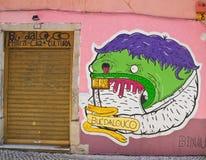 Painted graffiti. Lisbon, Portugal Stock Photos