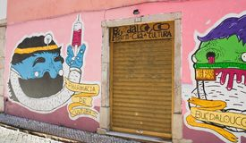 Painted graffiti. Lisbon, Portugal Stock Images