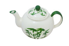 Painted green bamboo tea pot Royalty Free Stock Photography