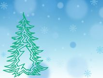 Painted green Christmas tree on a blue background, snowflakes, w royalty free stock photography