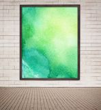 Painted green watercolor picture with wooden frame Stock Image