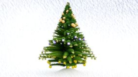 Painted Growing Up Christmas tree with decorations and snow stock video