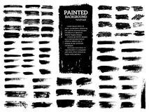 Painted grunge stripes set. Black labels, background, paint texture. Brush strokes vector. Handmade design elements. Vector illustration royalty free illustration
