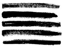 Painted grunge stripes set. Black  labels, background, paint texture. Brush strokes vector. Handmade design elements Royalty Free Stock Photos