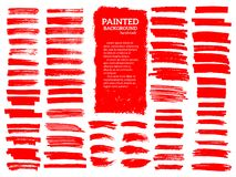 Painted grunge stripes set. Red  labels, background. Painted grunge stripes set. Red  labels, background, paint texture. Brush strokes vector. Handmade design Stock Photography
