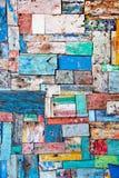 Painted ha sbucciato la struttura di legno della decorazione Immagine Stock