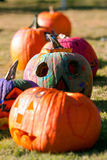Painted Halloween Pumpkins Dry In The Sun Stock Photography