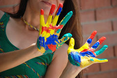 Painted hand Stock Images