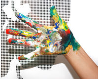 Painted hand Royalty Free Stock Photography