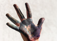 Painted  hand. A painted  hand against a white background Stock Photo