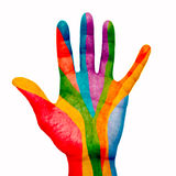 Painted hand. Painted open hand with a symbol Stock Image