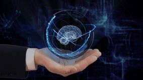 Painted hand shows concept hologram 3d brain on his hand. Drawn man in business suit with future technology screen and modern cosmic background stock footage
