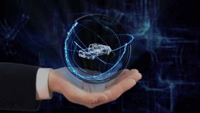 Painted hand shows concept hologram 3d Pickup truck on his hand. Drawn man in business suit with future technology screen and modern cosmic background stock video footage