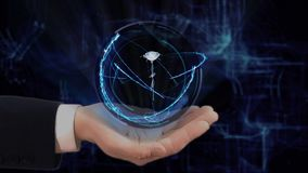Painted hand shows concept hologram 3d rose on his hand. Drawn man in business suit with future technology screen and modern cosmic background stock footage