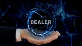Painted hand shows concept hologram Dealer on his hand. Drawn man in business suit with future technology screen and modern cosmic background Royalty Free Stock Photo