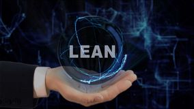 Painted hand shows concept hologram Lean on his hand Royalty Free Stock Photography