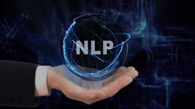Painted hand shows concept hologram NLP on his hand. Drawn man in business suit with future technology screen and modern cosmic background stock video