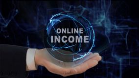 Painted hand shows concept hologram Online income on his hand. Drawn man in business suit with future technology screen and modern cosmic background Stock Photo