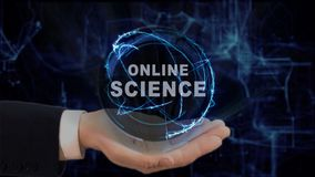 Painted hand shows concept hologram Online science on his hand. Drawn man in business suit with future technology screen and modern cosmic background Stock Images