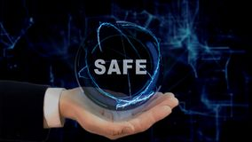 Painted hand shows concept hologram Safe on his hand. Drawn man in business suit with future technology screen and modern cosmic background Stock Images