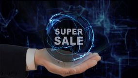 Painted hand shows concept hologram Super sale on his hand. Drawn man in business suit with future technology screen and modern cosmic background Stock Photos