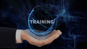 Painted hand shows concept hologram Training on his hand. Drawn man in business suit with future technology screen and modern cosmic background stock footage