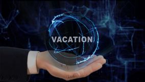Painted hand shows concept hologram Vacation on his hand. Drawn man in business suit with future technology screen and modern cosmic background Royalty Free Stock Photos