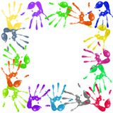 Painted handprints. A lot of colorful hand prints on white background stock illustration