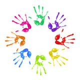 Painted handprints. A lot of colorful hand prints on white background Stock Images
