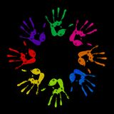 Painted handprints Stock Image