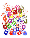 Painted child handprints abstract pattern Stock Image
