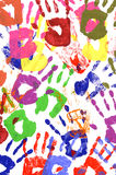 Painted child handprints abstract pattern Stock Photography