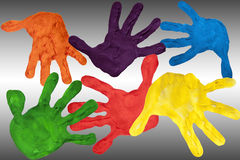 Painted hands Stock Images
