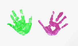 Painted hands. The image shows the imprint of two childrens hands stock image