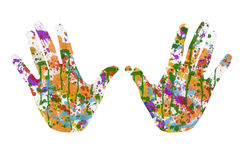 Painted hands. Imprint of two hands covered with multicolor watercolor paint Royalty Free Illustration