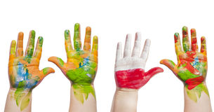 Painted hands of child Royalty Free Stock Photo